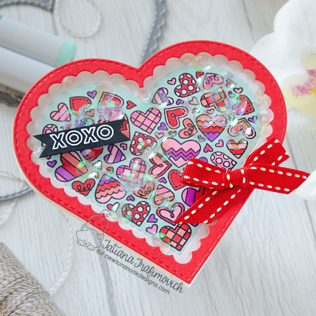 XOXO #handmade card by Tatiana Trafimovich #tatianacraftandart - Heartfelt Love stamp set by Newton's Nook Designs #newtonsnook