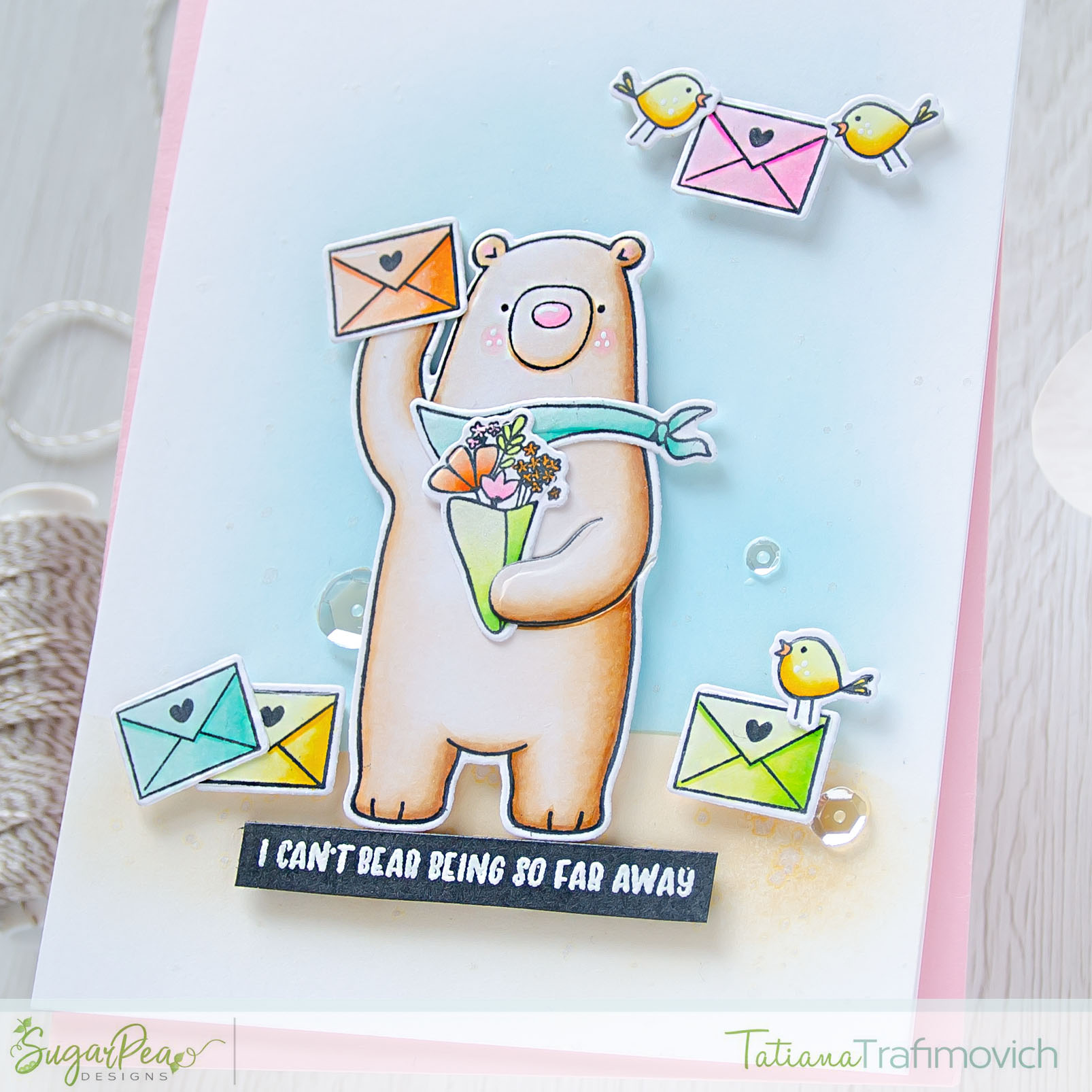 I Can't Bear Being So Far Away #handmade card by Tatiana Trafimovich #tatianacraftandart - Hey Winter and Hey Summer stamp sets by SugarPea Designs #sugarpeadesigns