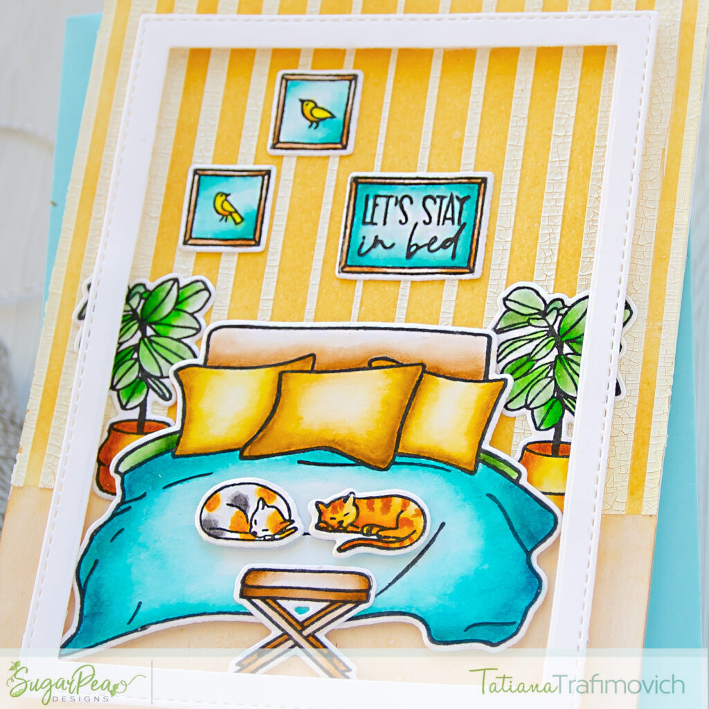 Let's Stay In Bed #handmade card by Tatiana Trafimovich #tatianacraftandart - Let's Stay In Bed stamp set by SugarPea Designs #sugarpeadesigns