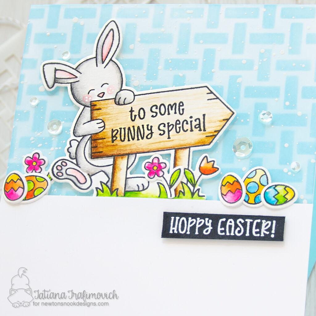 Happy Easter #handmade card by Tatiana Trafimovich #tatianacraftandart - Hoppy Greetings stamp set by Newton's Nook Designs #newtonsnook
