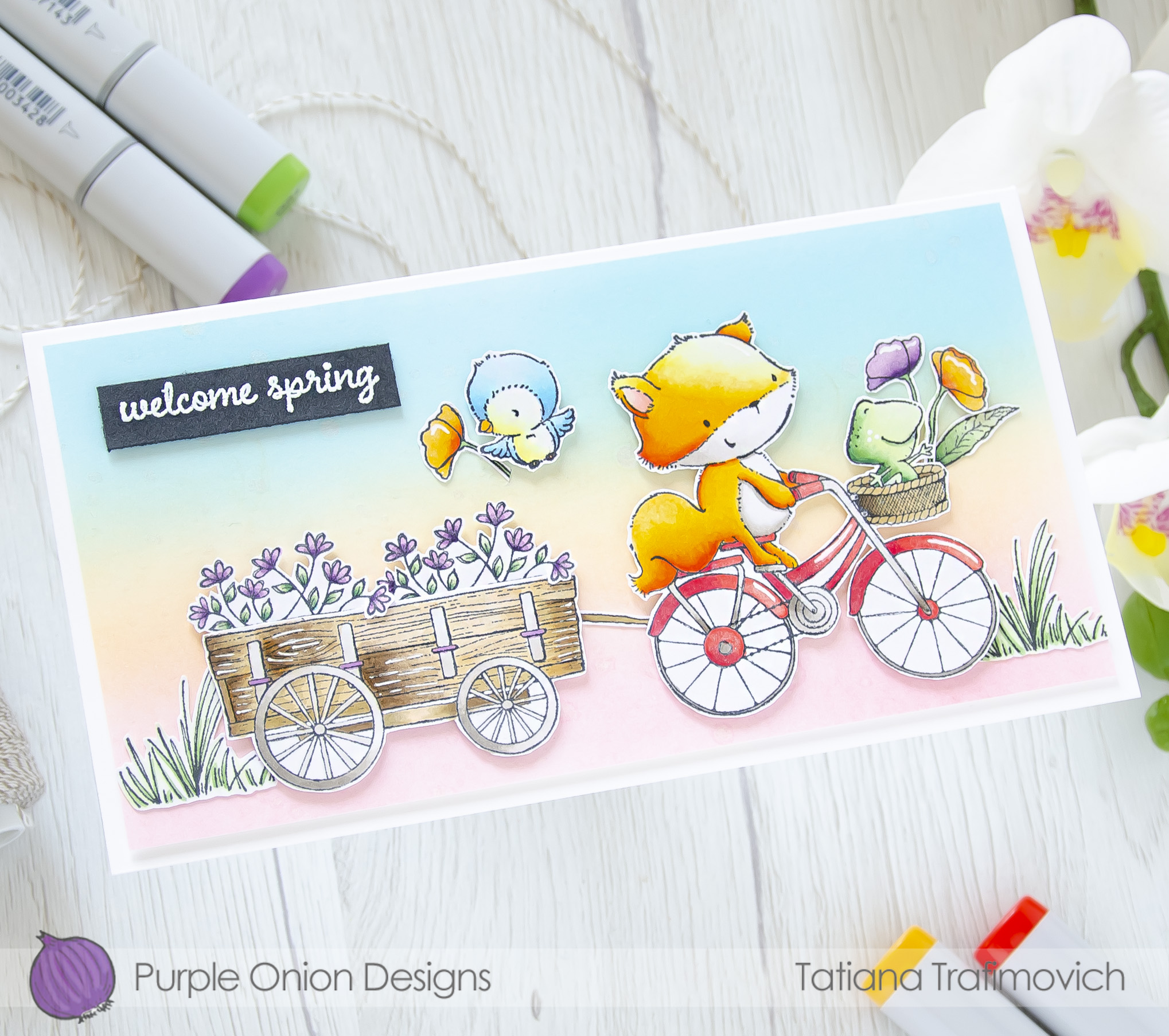 Welcome Spring #handmade card by Tatiana Trafimovich #tatianacraftandart - stamps by Purple Onion Designs
