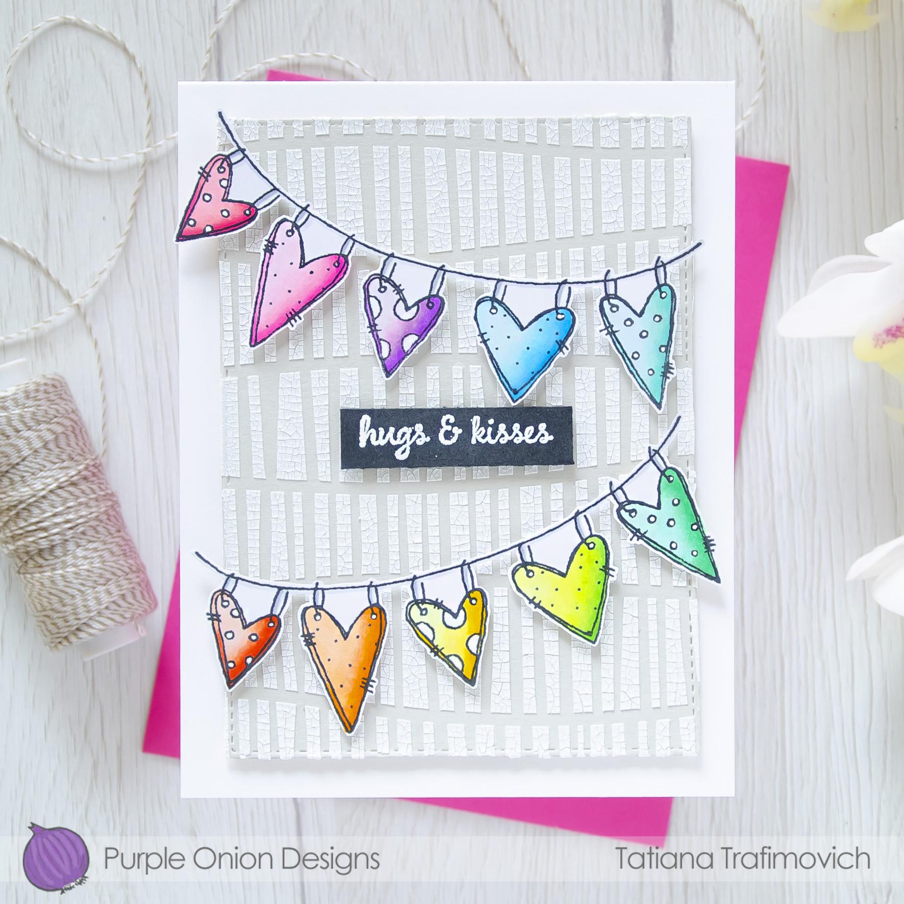 Hugs & Kisses #handmade card by Tatiana Trafimovich #tatianacraftandart - stamps by Purple Onion Designs