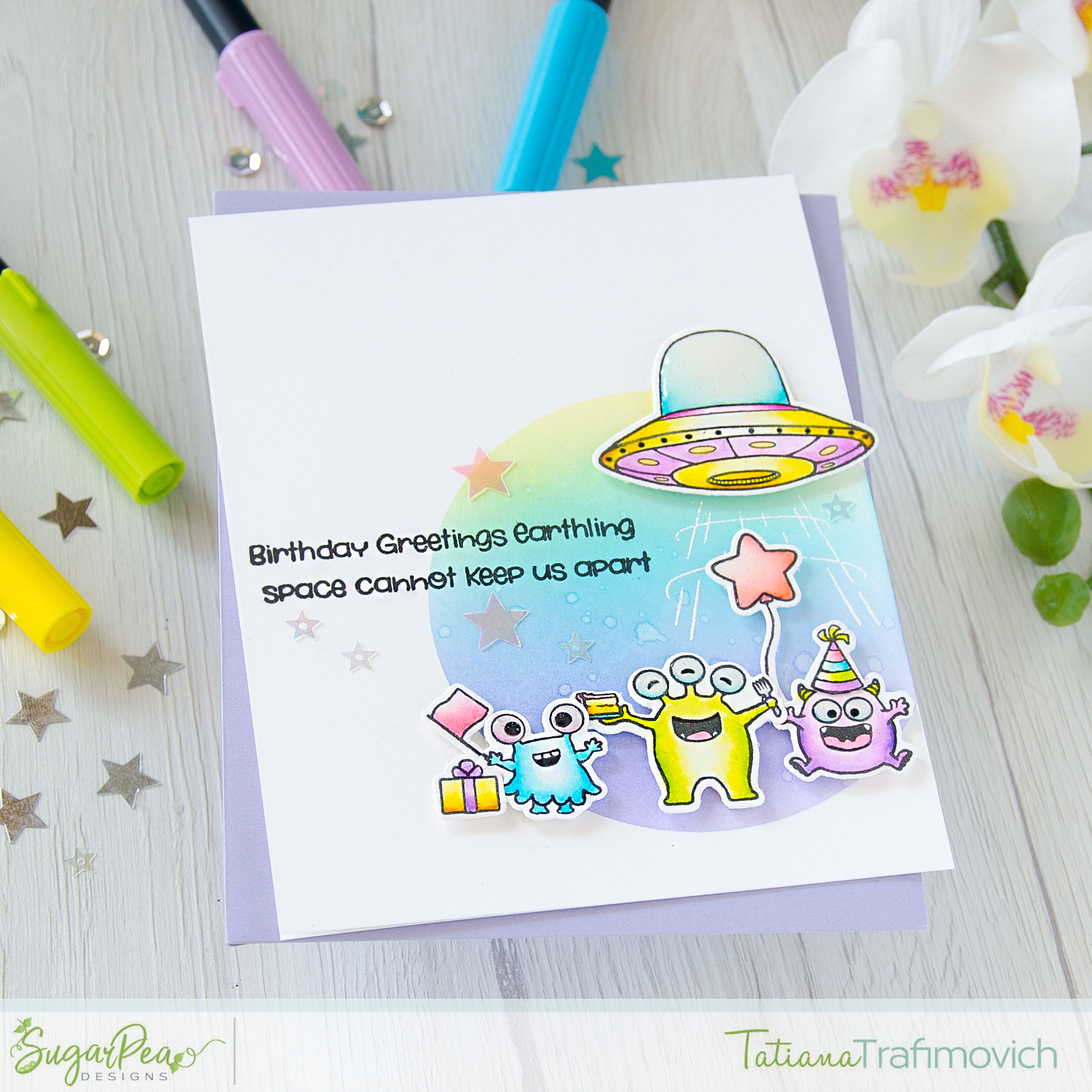 Birthday Greetings Earthling #handmade card by Tatiana Trafimovich #tatianacraftandart - Take Us To Your Cake stamp set by SugarPea Designs #sugarpeadesigns
