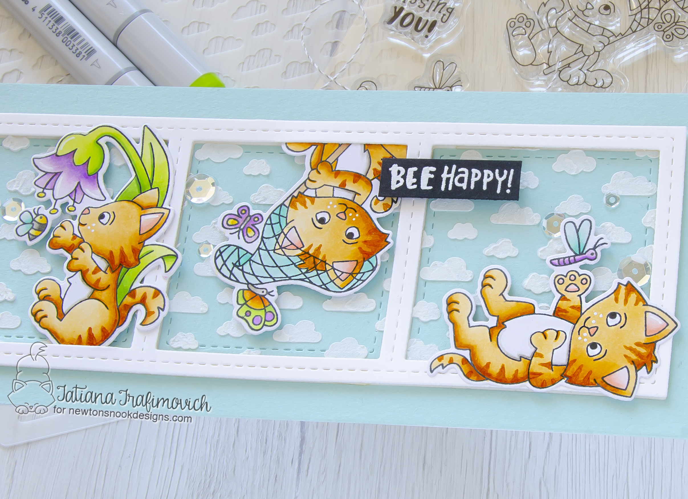 Bee Happy #handmade card by Tatiana Trafimovich #tatianacraftandart - Captivated Kittens stamp set by Newton's Nook Designs #newtonsnook