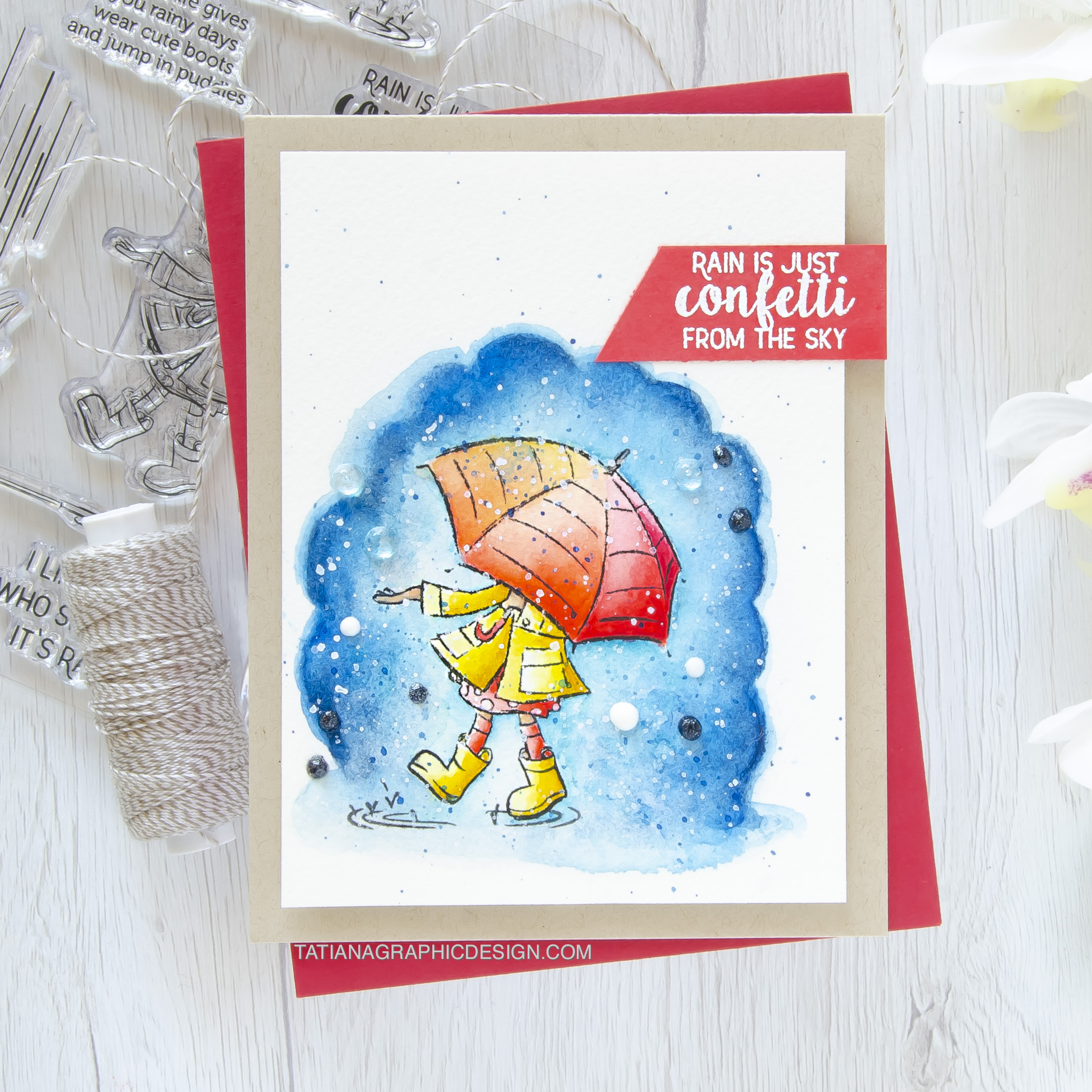 Rain Is Just Confetti From The Sky #handmade card by Tatiana Trafimovich #tatianacraftandart - Cute Boots stamp set by Spellbinders #spellbinders