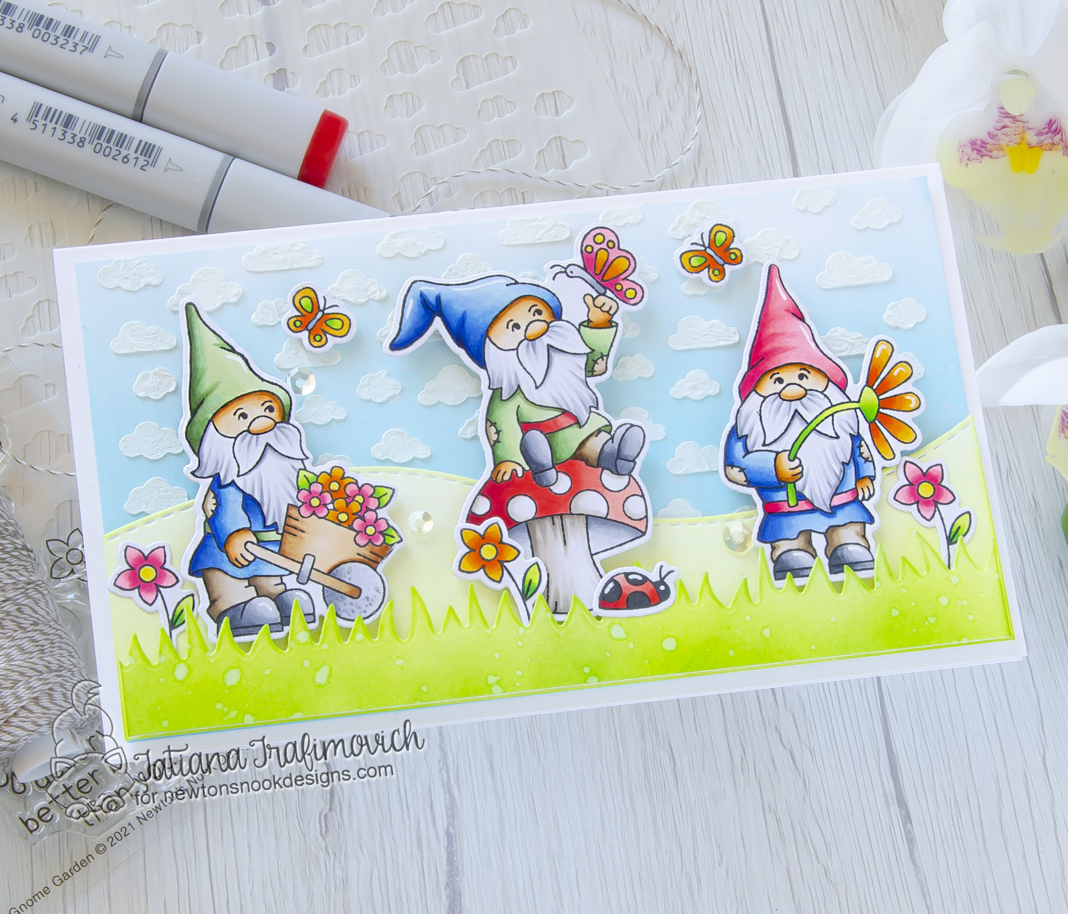 Gnome-One Deserves A Better Birthday Than You! #handmade card by Tatiana Trafimovich #tatianacraftandart - Gnome Garden stamp set by Newton's Nook Designs #newtonsnook