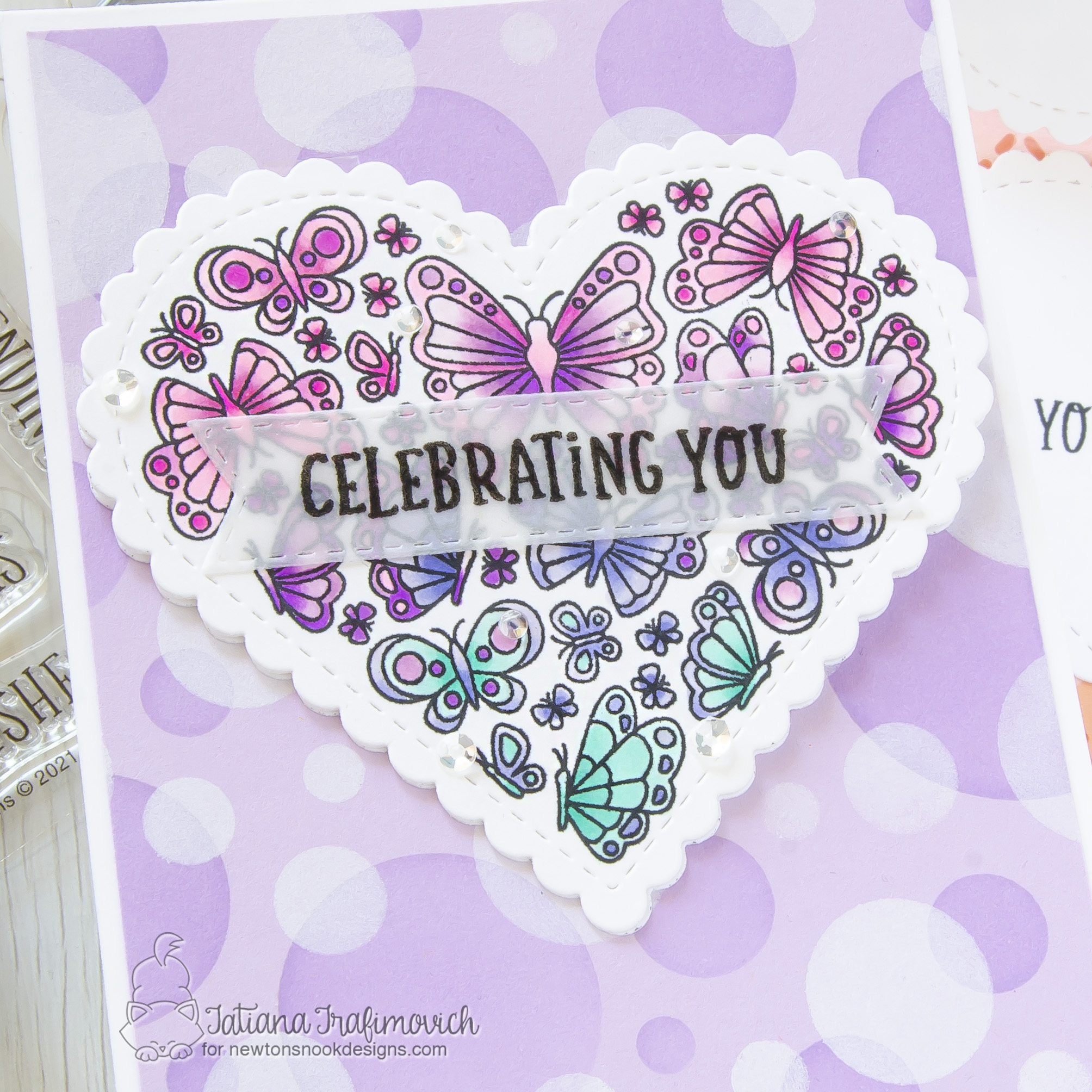 Celebrating You #handmade card by Tatiana Trafimovich #tatianacraftandart - Heartfelt Butterflies stamp set by Newton's Nook Designs #newtonsnook
