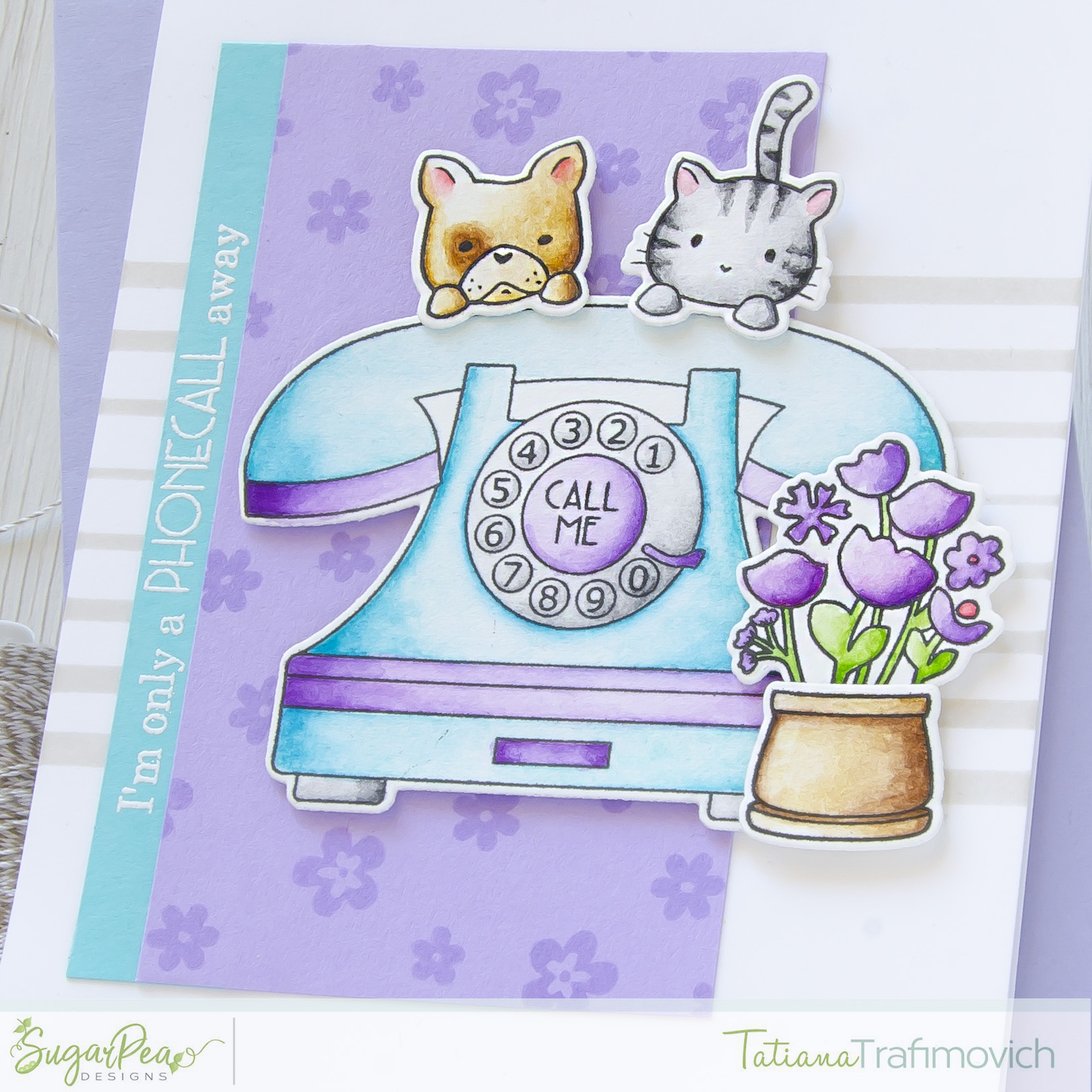 Call Me #handmade card by Tatiana Trafimovich #tatianacraftandart - Call Me Stamp Set by SugarPea Designs #sugarpeadesigns