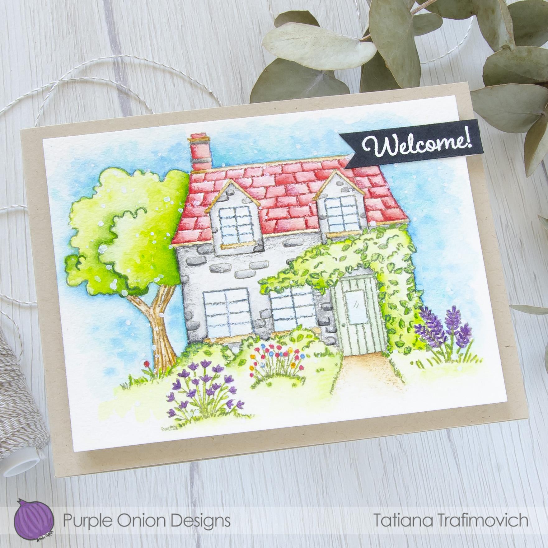 Welcome #handmade card by Tatiana Trafimovich #tatianacraftandart - stamps by Purple Onion Designs