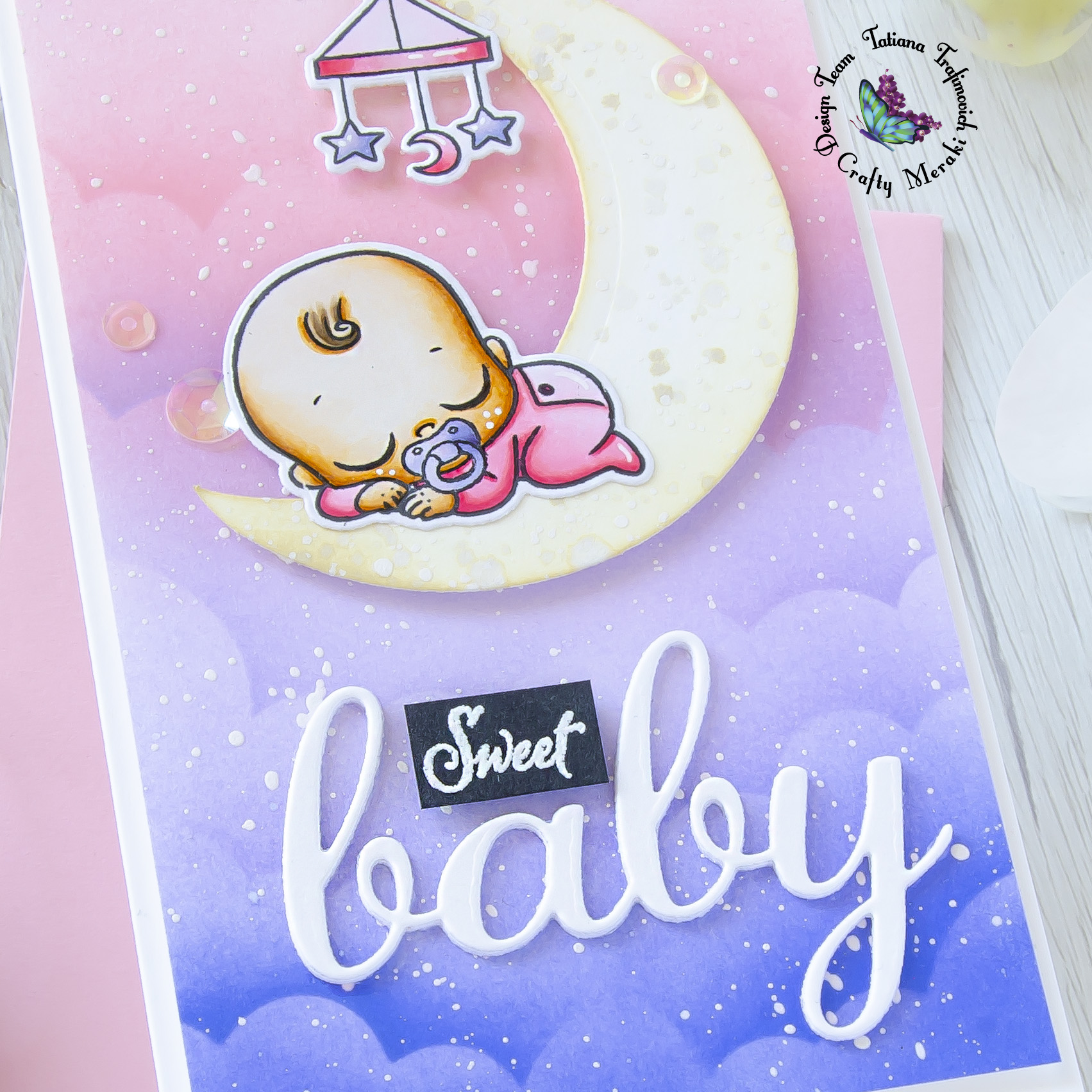 Sweet Baby #handmade card by Tatiana Trafimovich #tatianacraftandart - Oh Baby stamp set by Crafty Meraki #craftymeraki