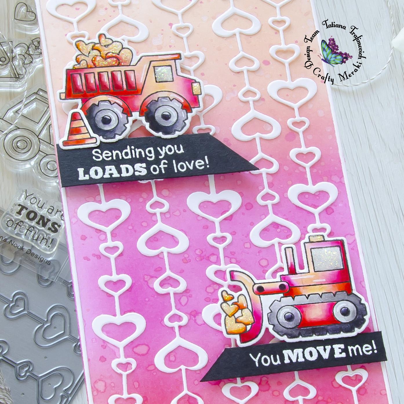 Sending You Loads of Love #handmade card by Tatiana Trafimovich #tatianacraftandart - Live Quarry stamp set by Newton's Nook Designs #newtonsnook and Eccentric Hearts die by Crafty Meraki #craftymeraki