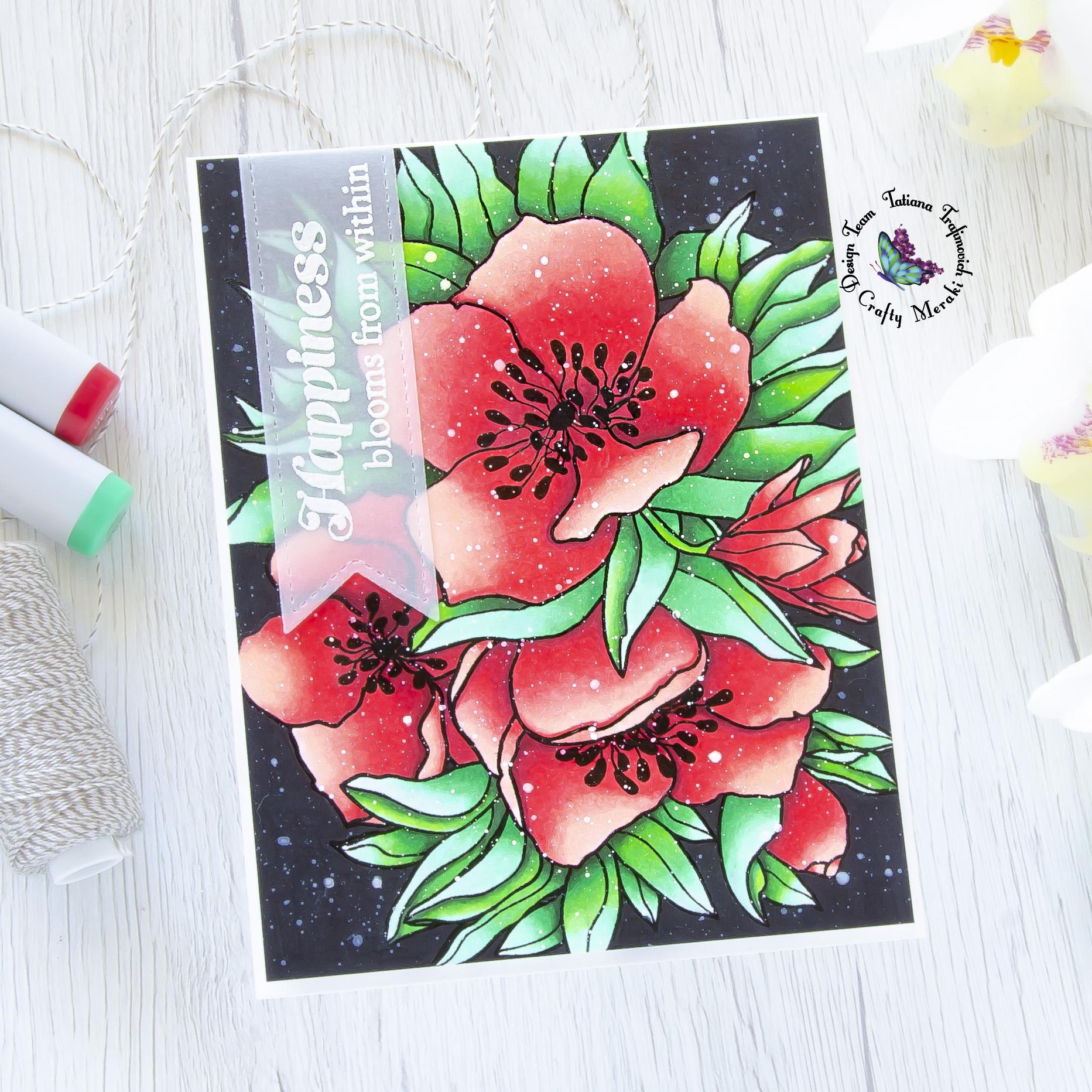 Happiness Blooms From Within #handmade card by Tatiana Trafimovich #tatianacraftandart - Elegance stamp set by Crafty Meraki #craftymeraki