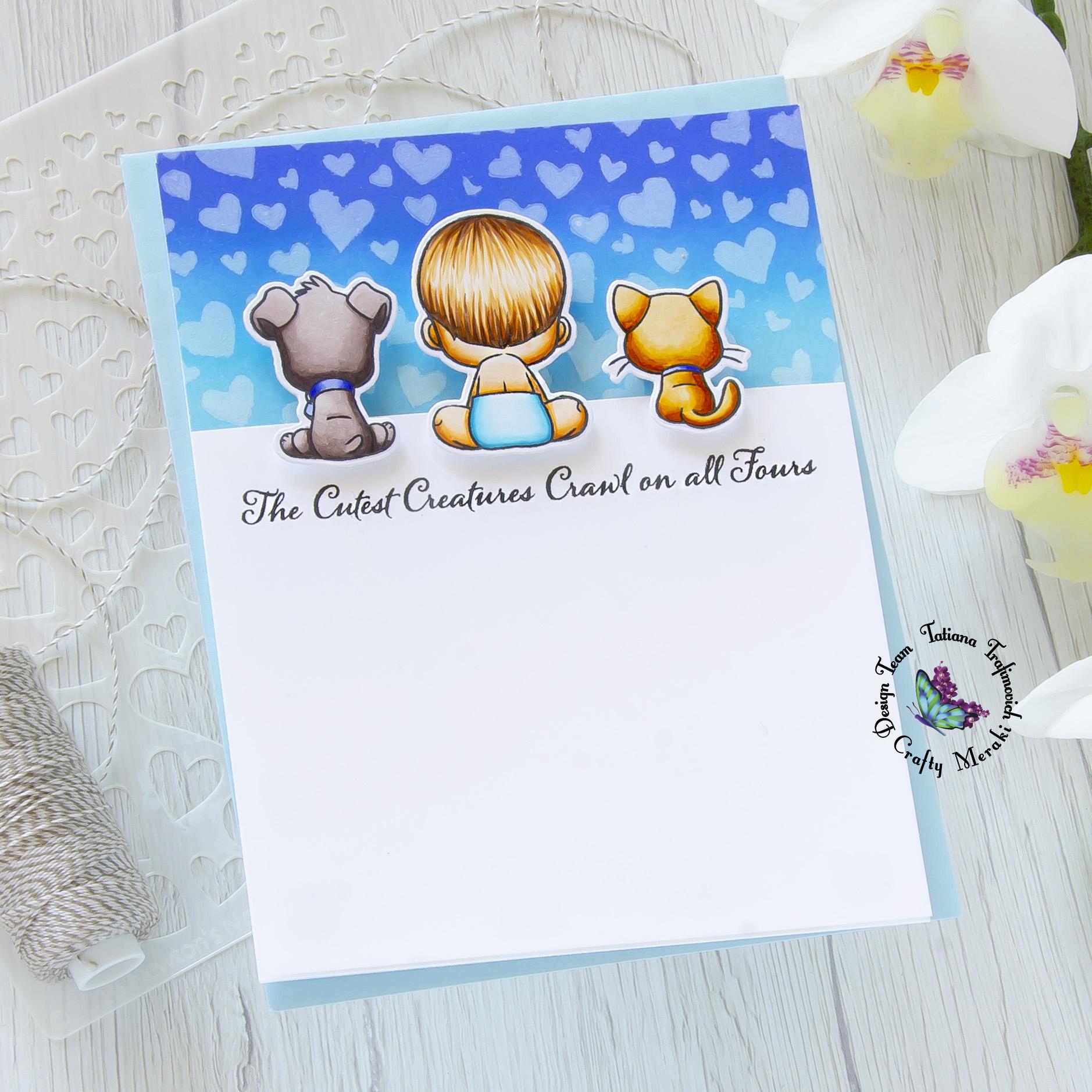 Baby Boy #handmade card by Tatiana Trafimovich #tatianacraftandart - Oh Baby stamp set by Crafty Meraki #craftymeraki