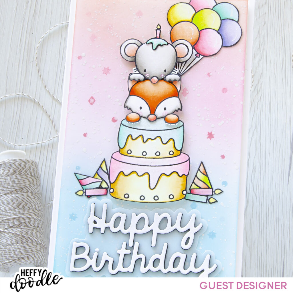 Happy Birthday #handmade card by Tatiana Trafimovich #tatianacraftandart - Popping By stamp set by Crafty Meraki #craftymeraki