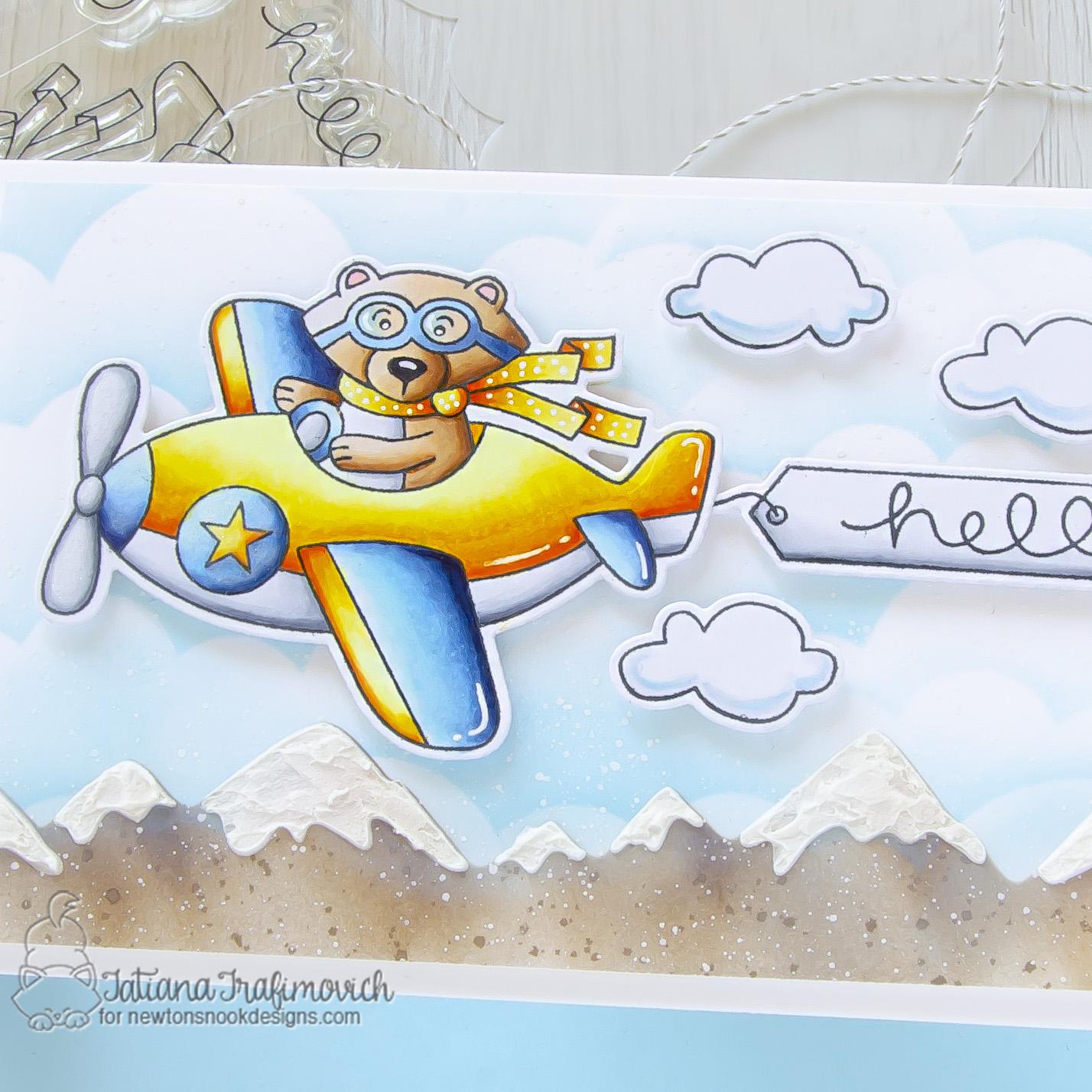Hello #handmade card by Tatiana Trafimovich #tatianacraftandart - Winston Takes Flight stamp set by Newton's Nook Designs #newtonsnook