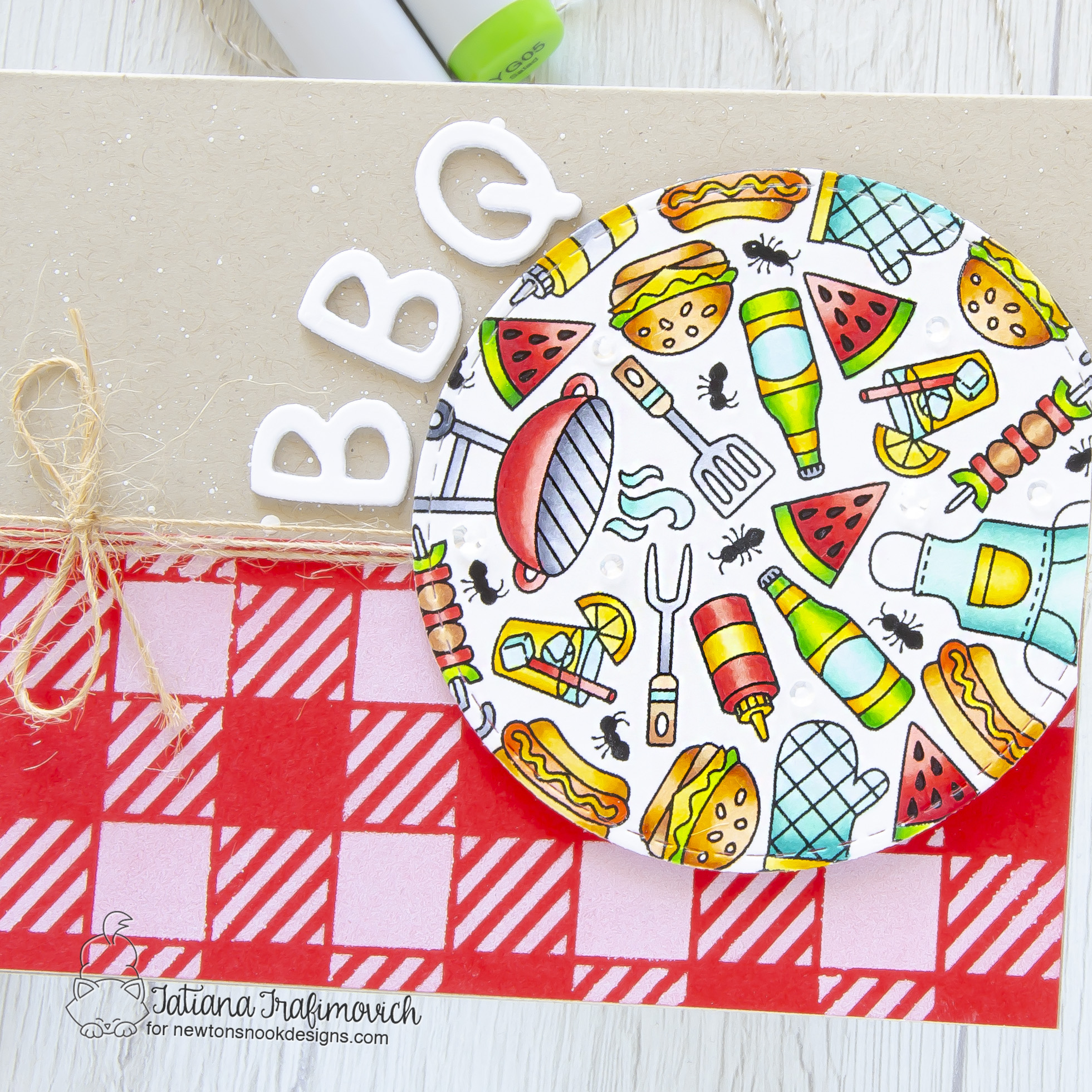 BBQ #handmade card by Tatiana Trafimovich #tatianacraftandart - BBQ Roundabout stamp set by Newton's Nook Designs #newtonsnook