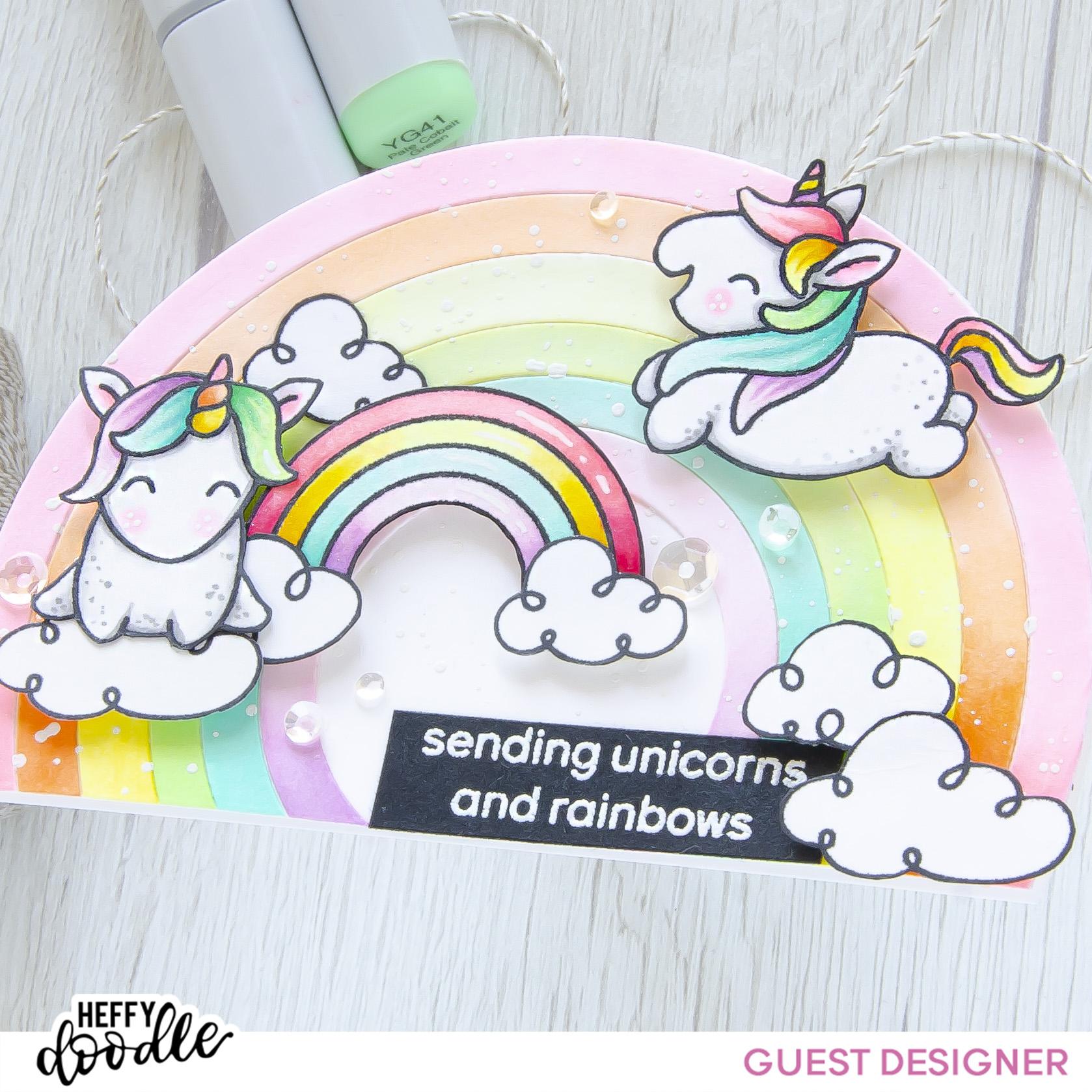 Sending Unicorns and Rainbows #handmade card by Tatiana Trafimovich #tatianacraftandart - Fluffy Puffy Unicorns stamp set by Heffy Doodle #heffydoodle