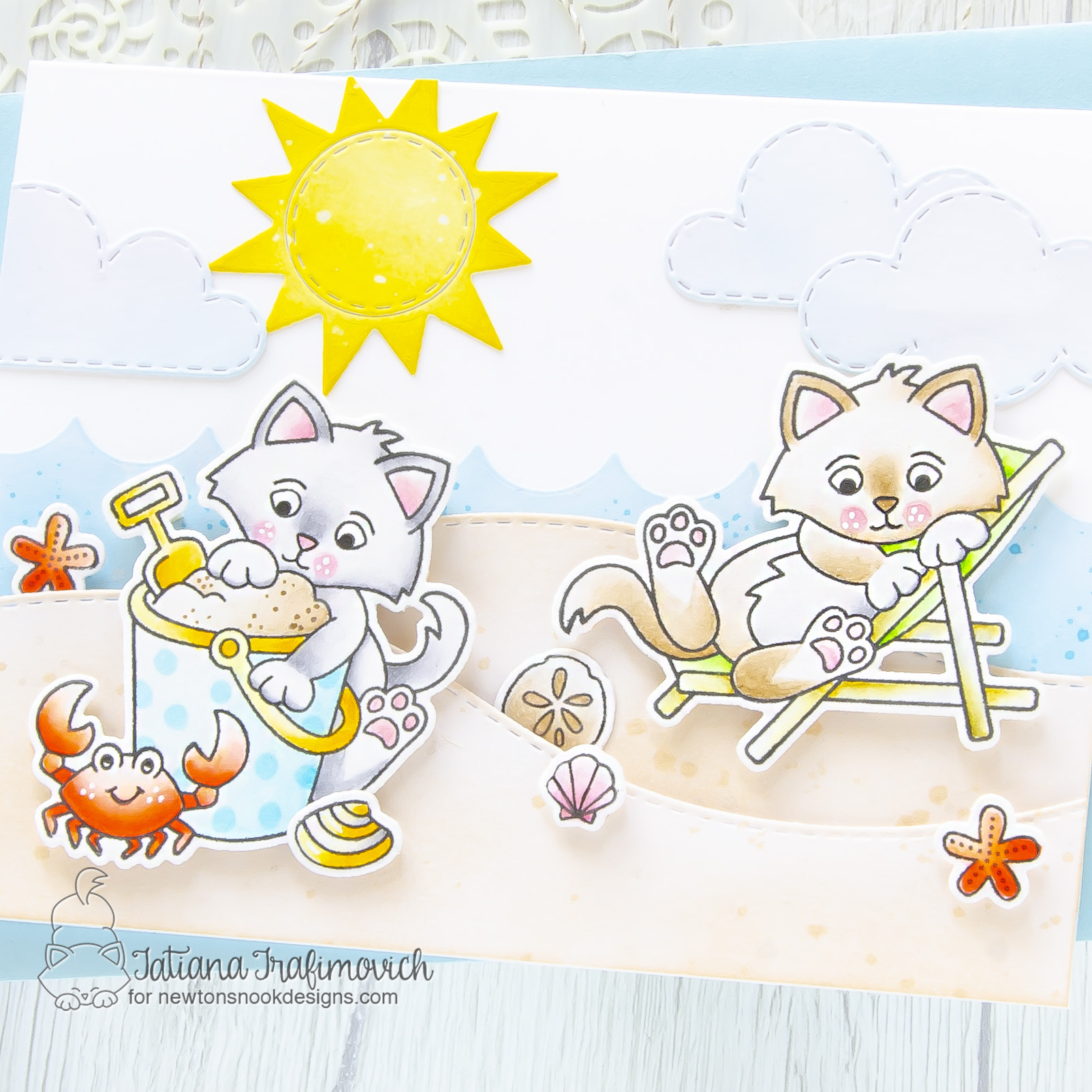 Sending You A Sunny Smiles #handmade card by Tatiana Trafimovich #tatianacraftandart - Kitten Beach stamp set by Newton's Nook Designs #newtonsnook