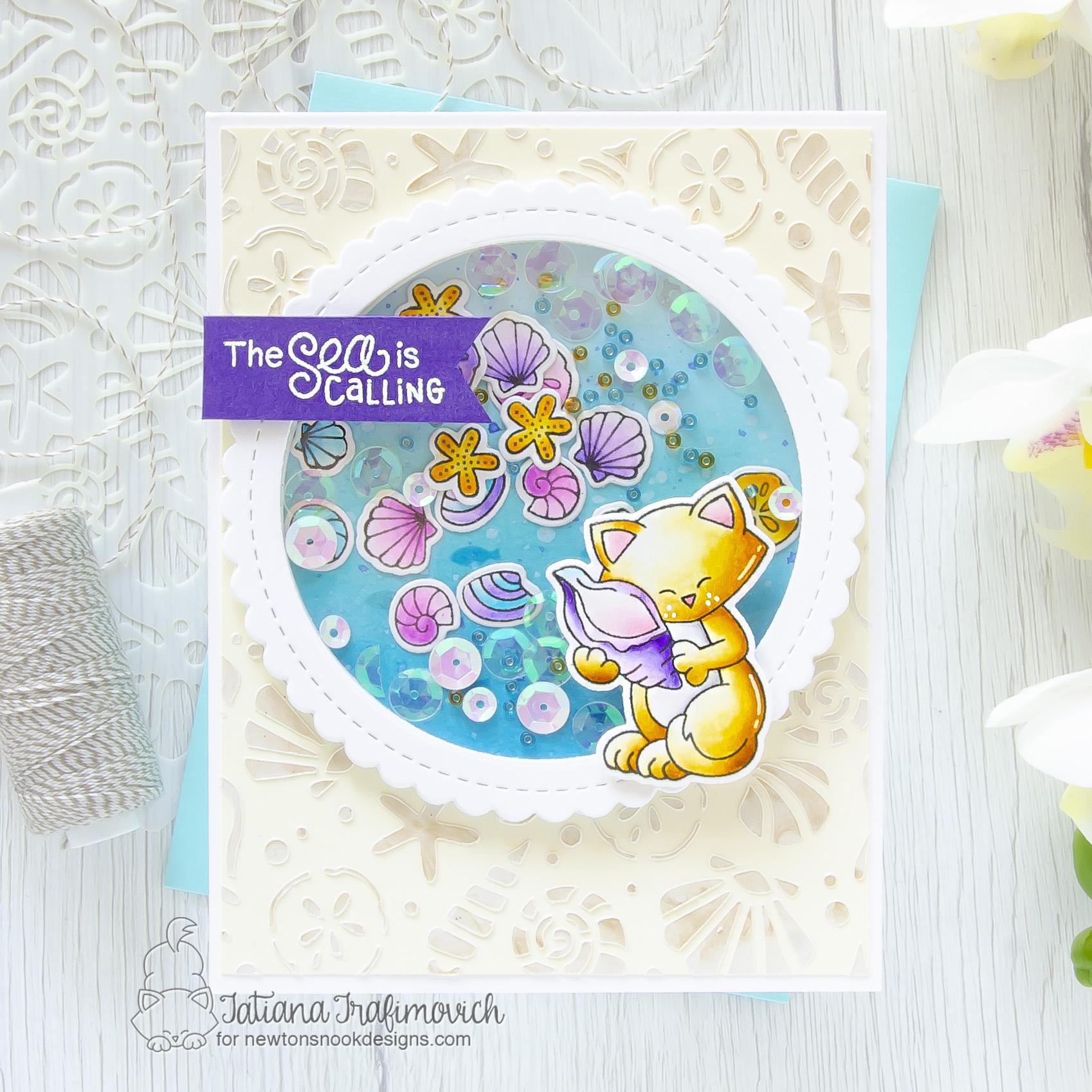 The Sea Is Calling #handmade card by Tatiana Trafimovich #tatianacraftandart - Newton's Seashell stamp set by Newton's Nook Designs #newtonsnook