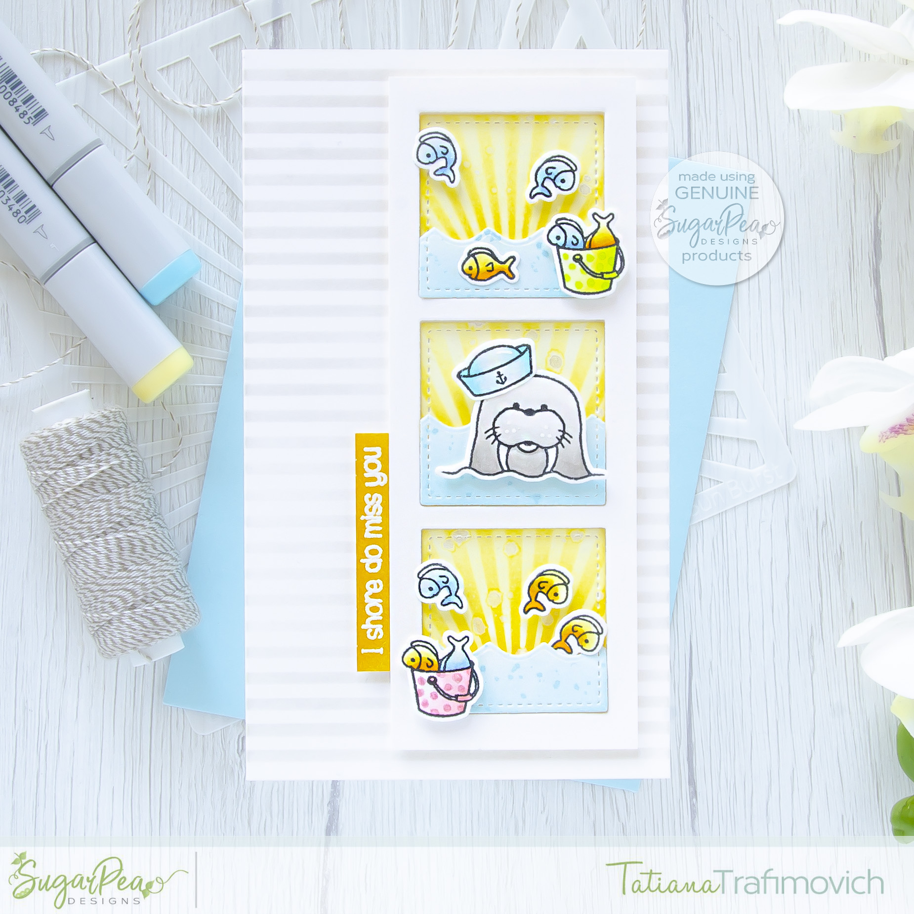 I Shore Do Miss You #handmade card by Tatiana Trafimovich #tatianacraftandart - Waves of Love stamp set by SugarPea Designs #sugarpeadesigns