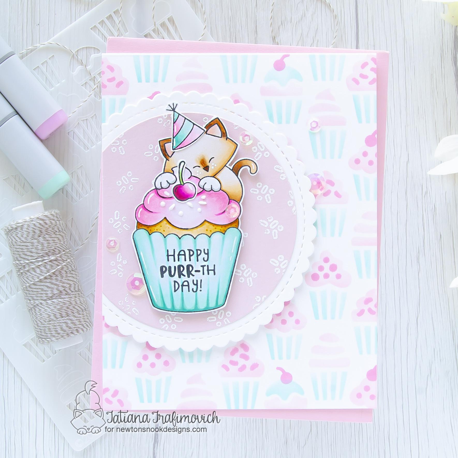 Happy PURR-day!!! #handmade card by Tatiana Trafimovich #tatianacraftandart - Newton's Cupcake stamp set by Newton's Nook Designs #newtonsnook