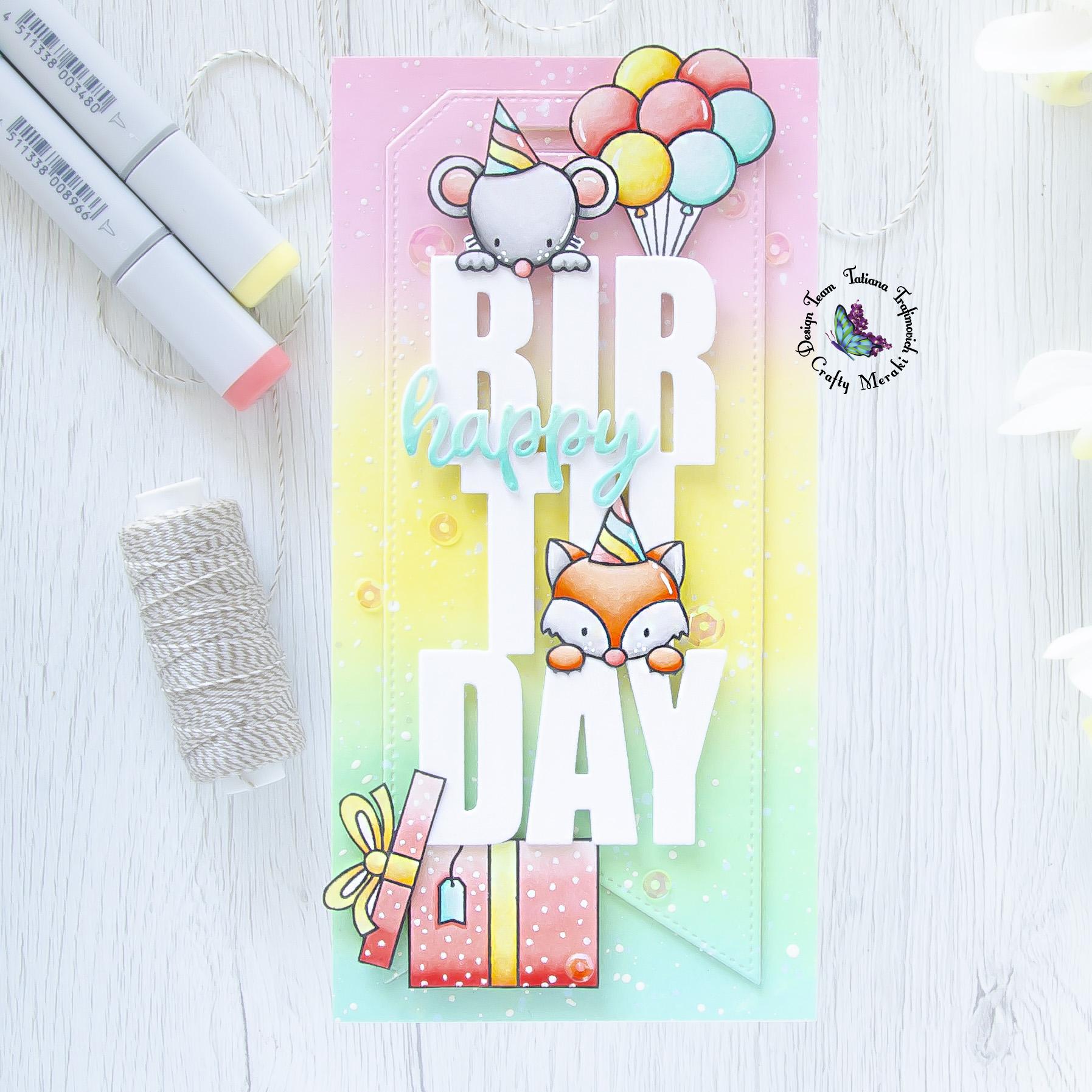 Happy Birthday #handmade card by Tatiana Trafimovich #tatianacraftandart - Birthday Slimline Tag Die by Crafty Meraki #craftymeraki and Popping By Stamp Set by Heffy Doodle #heffydoodle