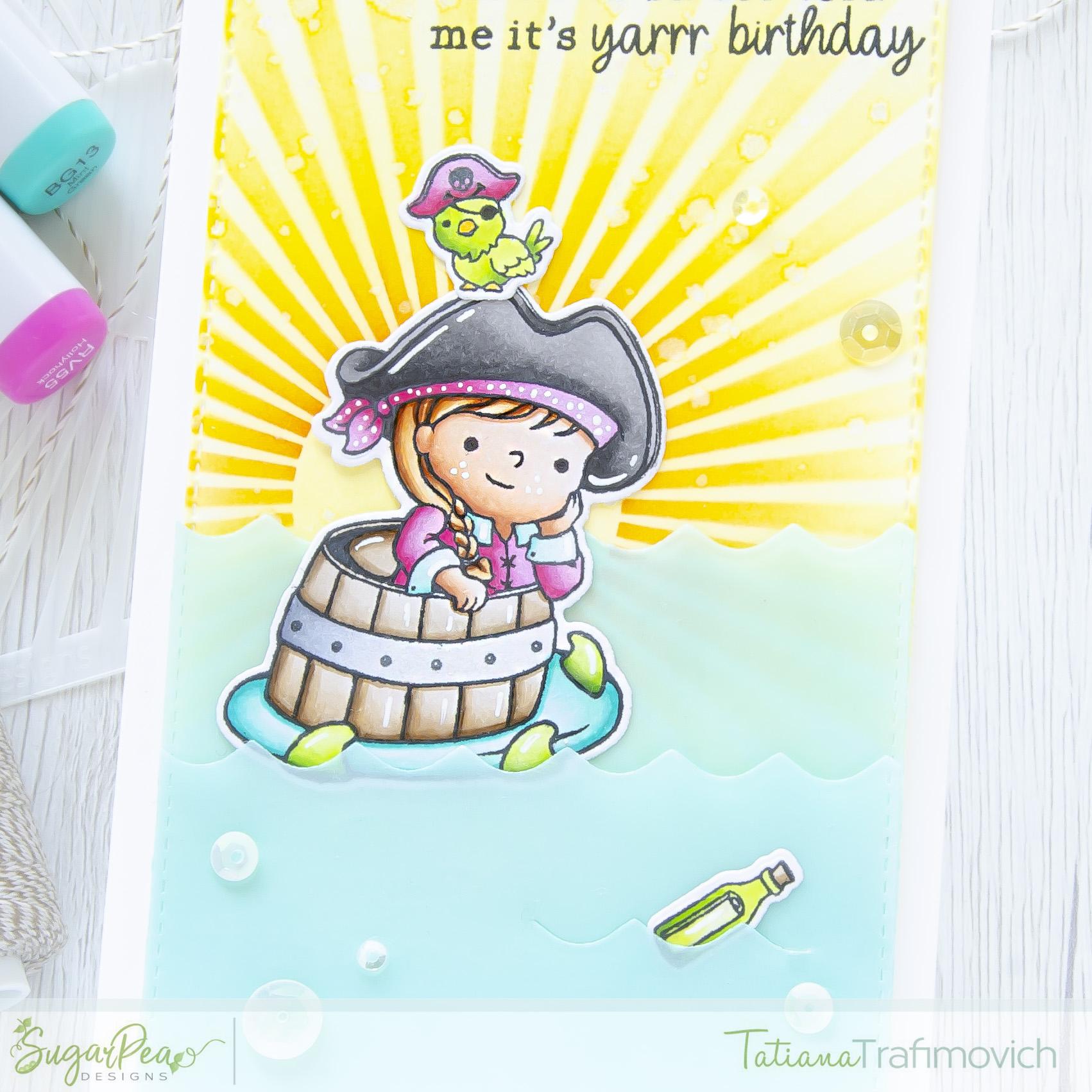 It's Yarrr Birthday #handmade card by Tatiana Trafimovich #tatianacraftandart - Captain of My Heart stamp set by SugarPea Designs #sugarpeadesigns