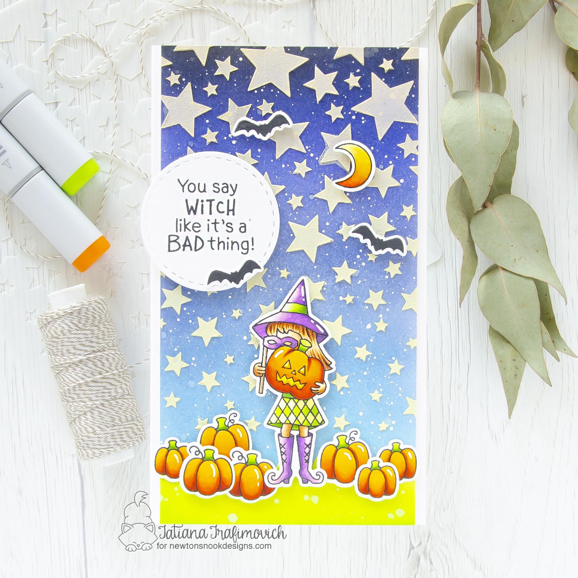 Halloween #handmade card by Tatiana Trafimovich #tatianacraftandart - Brooms & Boos stamp set by Newton's Nook Designs #newtonsnook