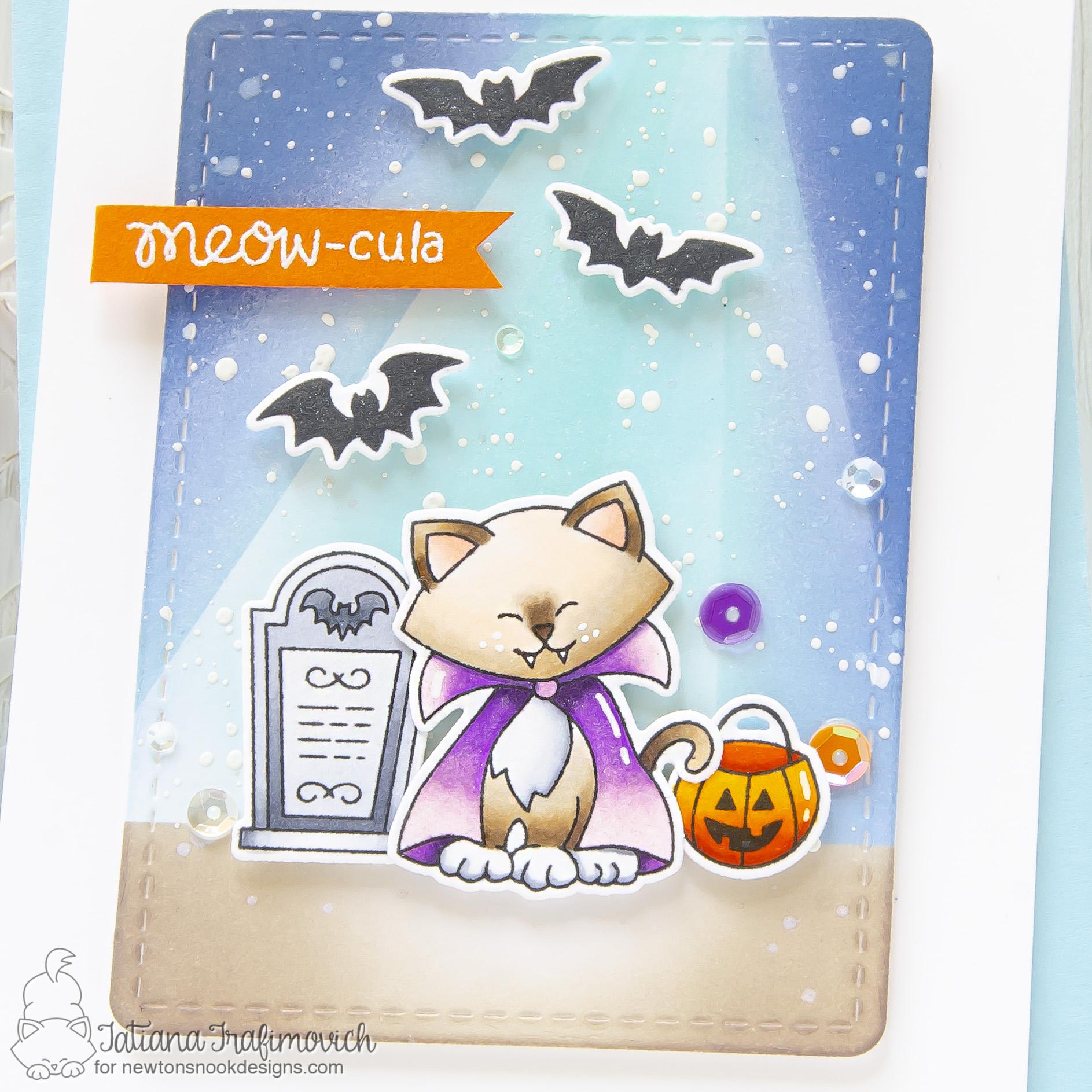 Meow-cula #handmade Halloween card by Tatiana Trafimovich #tatianacraftandart - Count Newton stamp set by Newton's Nook Designs #newtonsnook