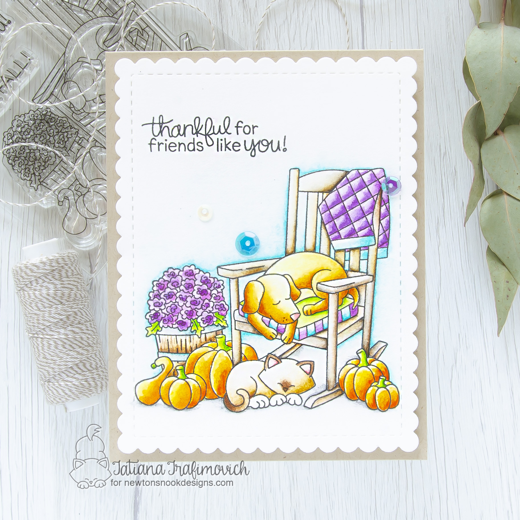 Friend #handmade card by Tatiana Trafimovich #tatianacraftandart - Fall Friends stamp set by Newton's Nook Designs #newtonsnook