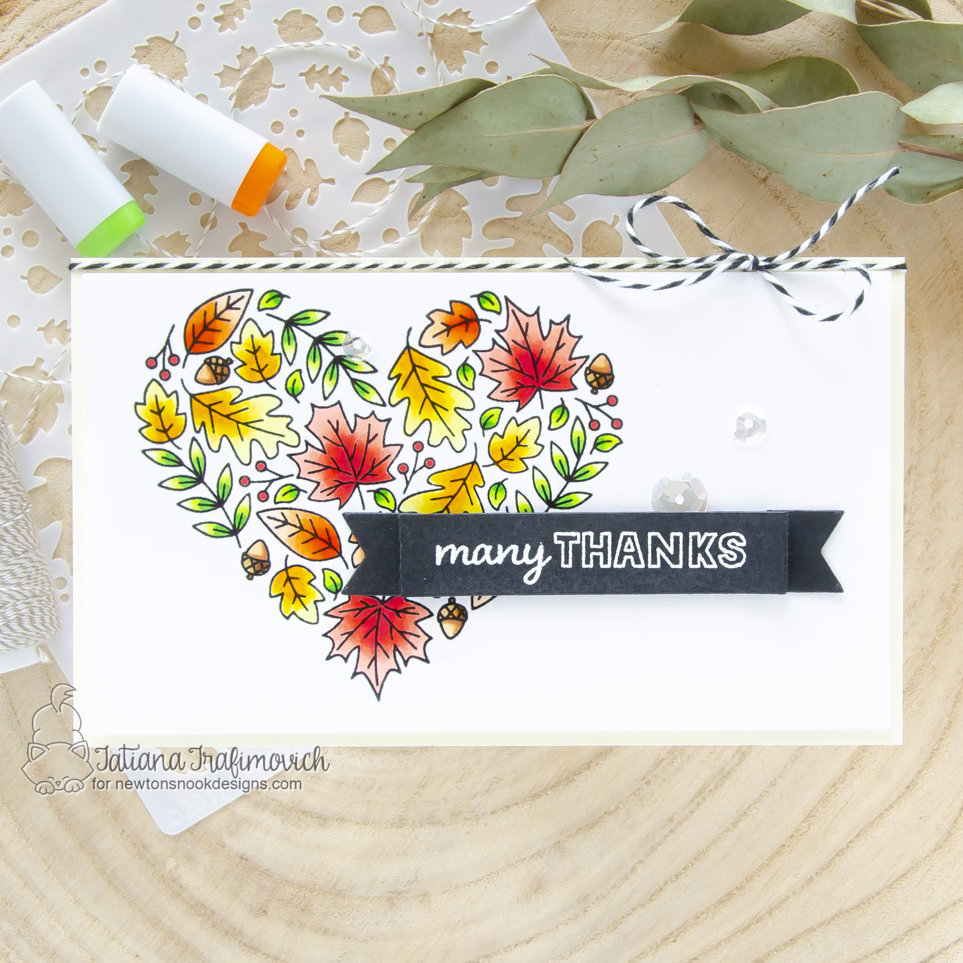 Many Thanks #handmade card by Tatiana Trafimovich #tatianacraftandart - Heartfelt Fall stamp set by Newton's Nook Designs #newtonsnook