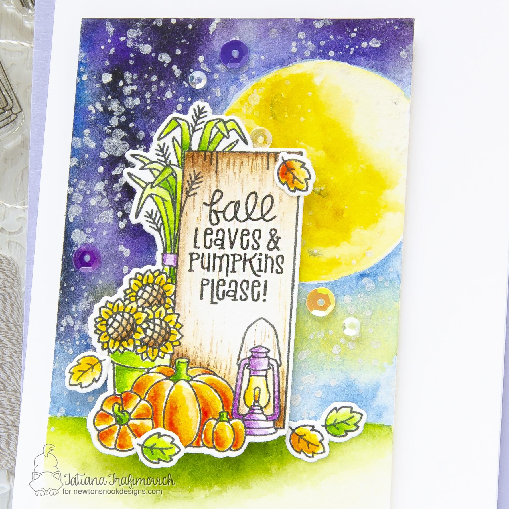 Fall Leaves & Pumpkins Please #handmade card by Tatiana Trafimovich #tatianacraftandart - Signs of Fall stamp set by Newton's Nook Designs #newtonsnook