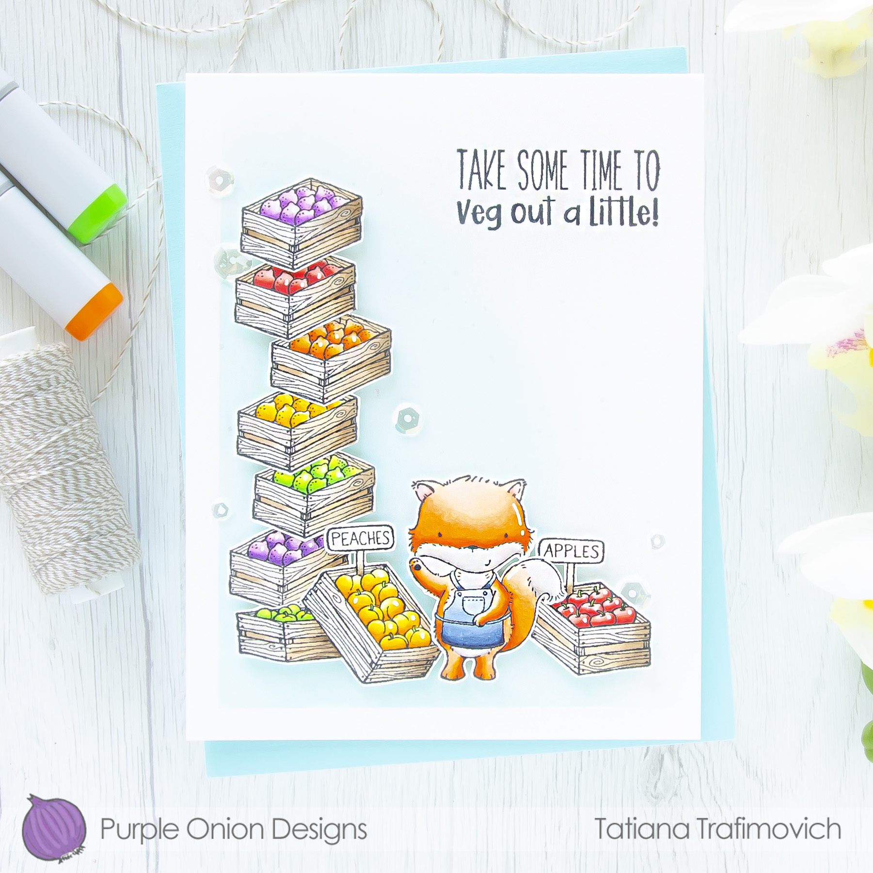 Take Some Time To Veg Out A Little #handmade card by Tatiana Trafimovich #tatianacraftandart - stamps by Purple Onion Designs