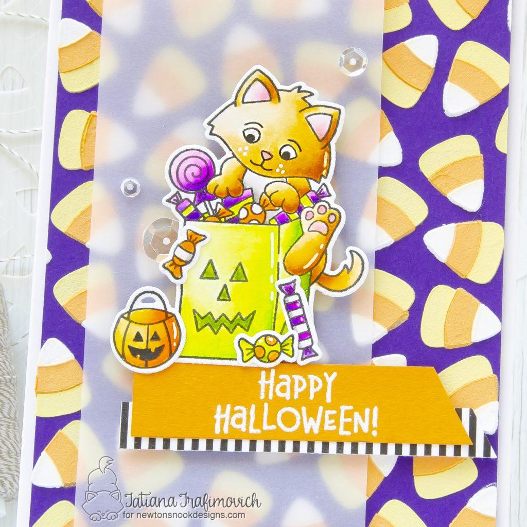 Happy Halloween #handmade card by Tatiana Trafimovich #tatianacraftandart - Trick or Treat Kittens stamp set by Newton's Nook Designs #newtonsnook