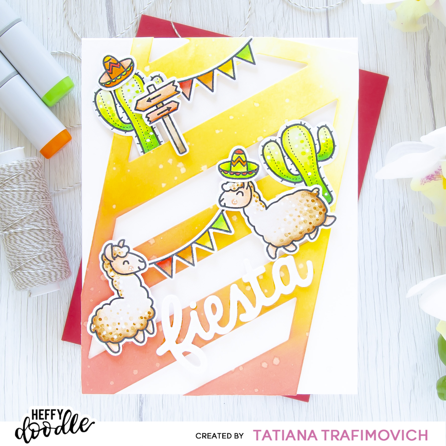 Fiesta #handmade card by Tatiana Trafimovich #tatianacraftandart - Llamazing Llamas Stamp Set by Heffy Doodle #heffydoodle