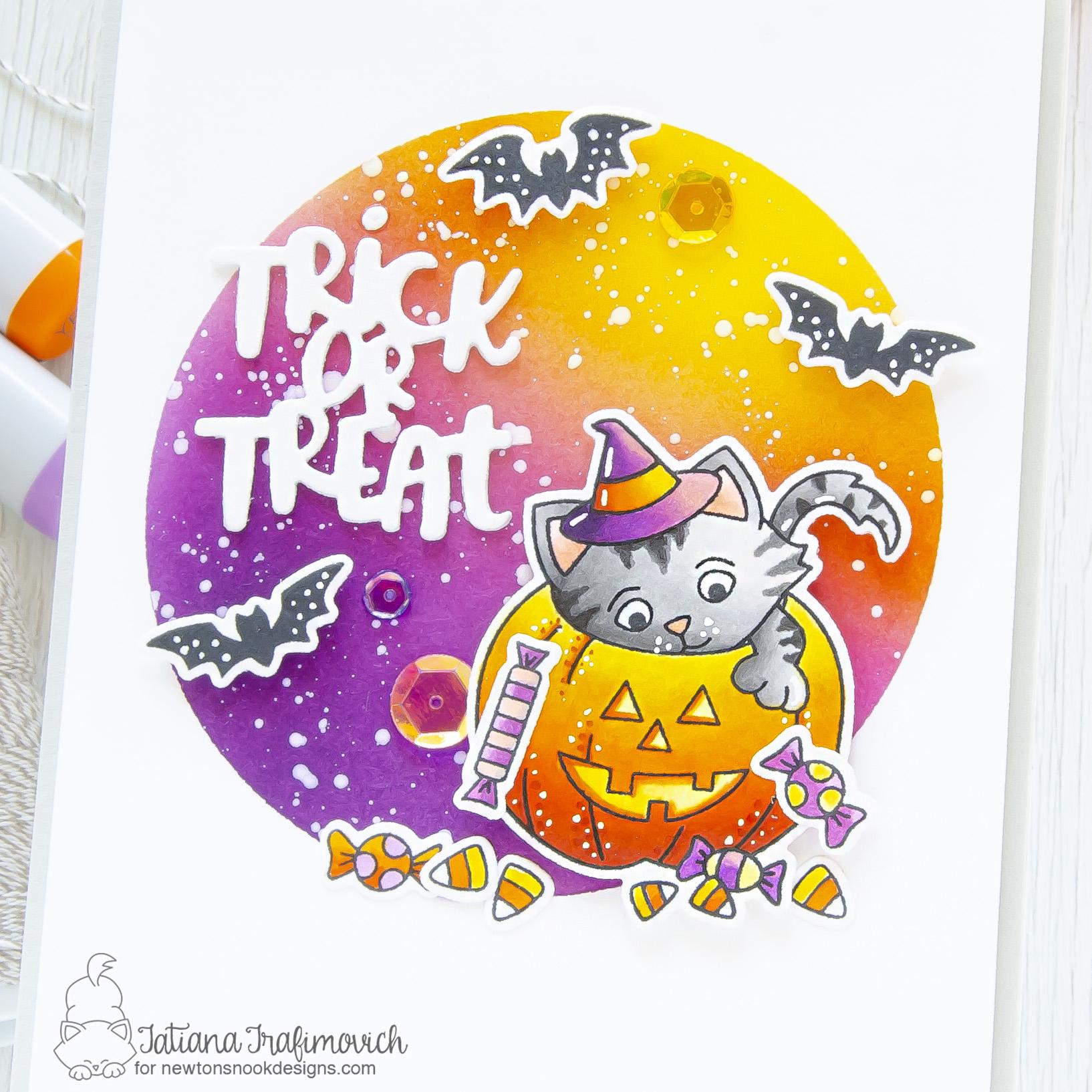 Trick or Treat #handmade card by Tatiana Trafimovich #tatianacraftandart - Trick or Treat Kittens stamp set by Newton's Nook Designs #newtonsnook