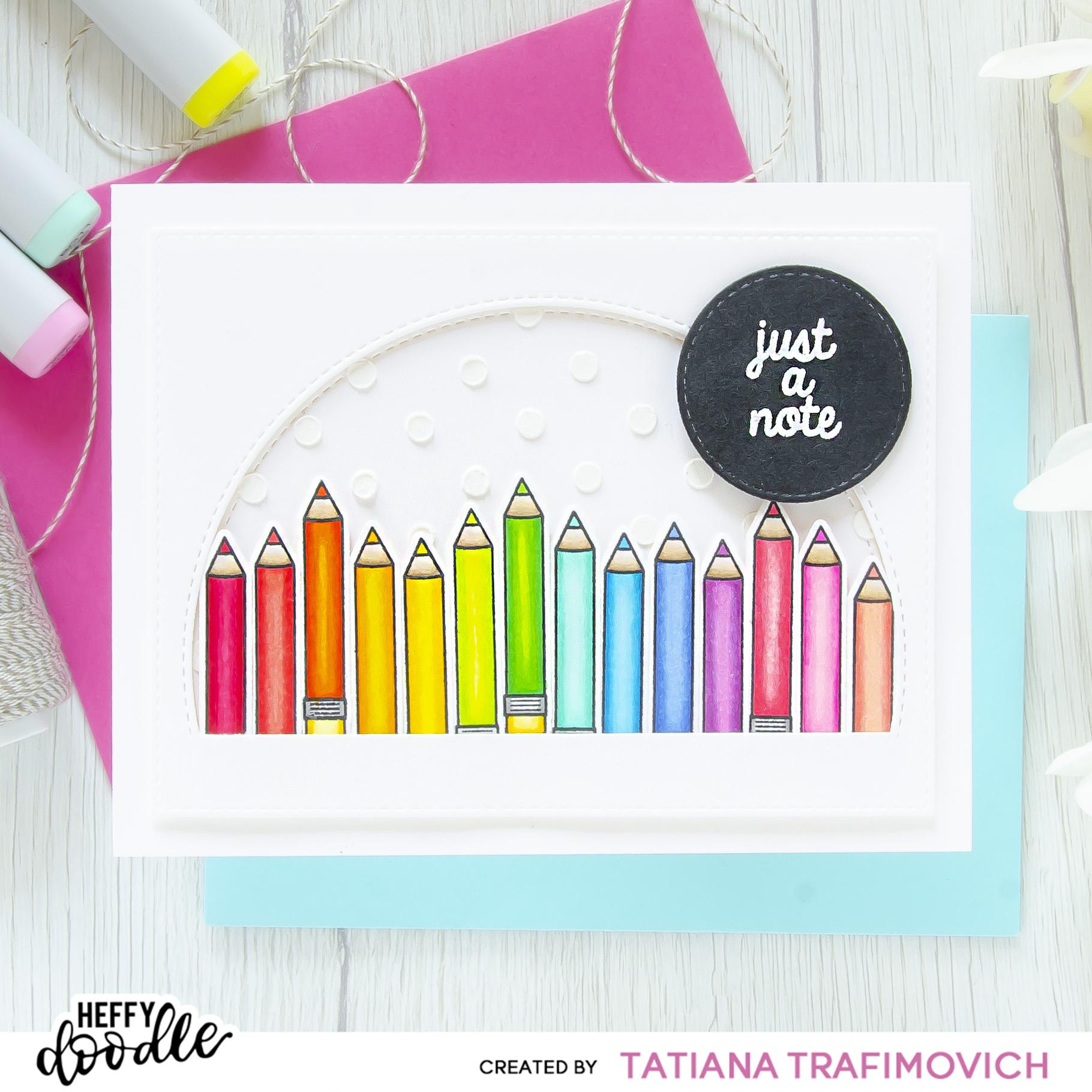 Just A Note rainbow #handmade card by Tatiana Trafimovich #tatianacraftandart - Just A Note Stamp Set by Heffy Doodle #heffydoodle